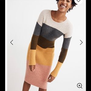 Madewell Colorblock Midi Sweater Dress